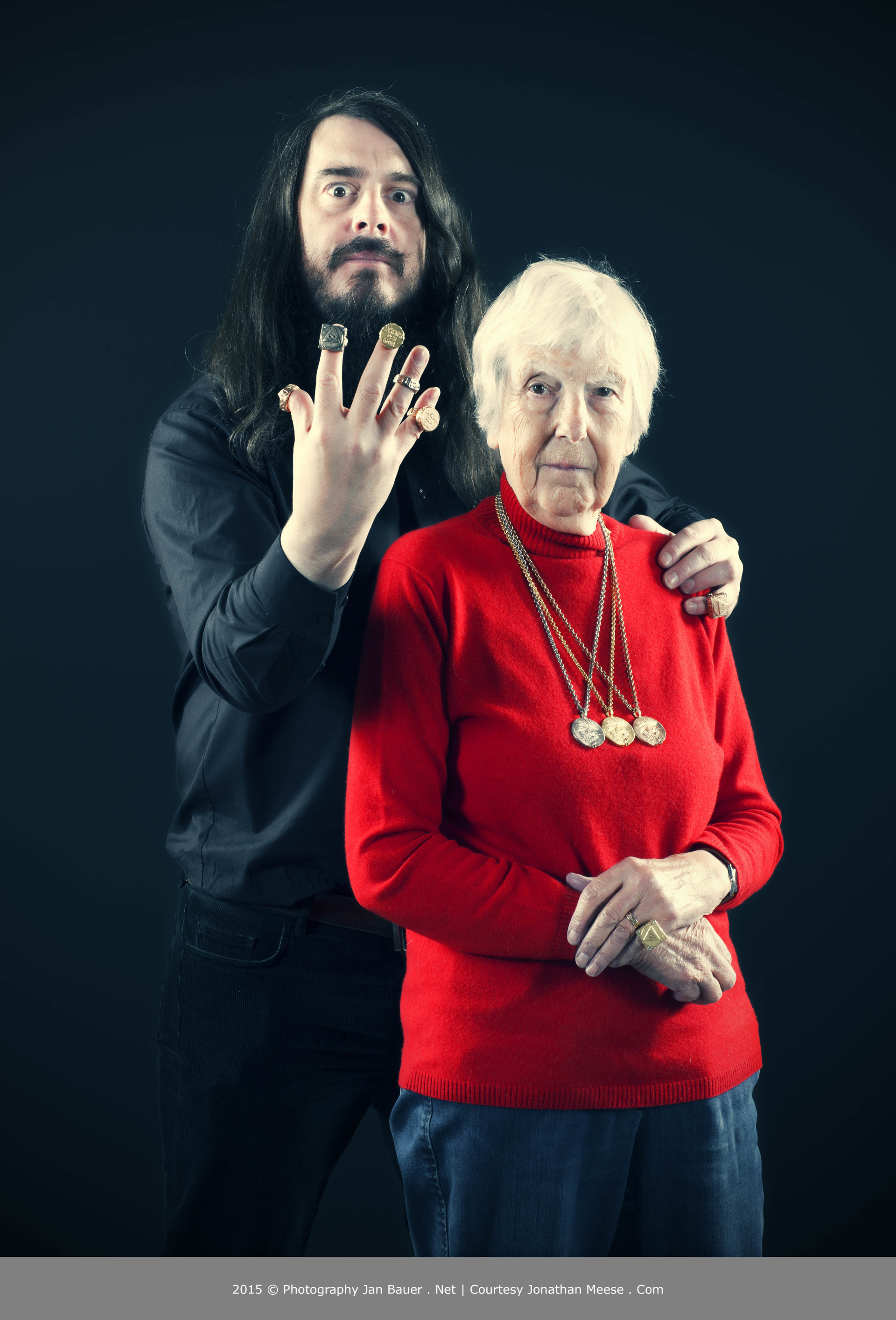 JONATHAN MEESE - Jonathan Meese and his mother Brigitte Meese pose with jewelry designed by Meese himself for Munich jeweler CADA Herbert Kopp in Meeses studio in Berlin, Germany, on Oct. 10, 2015. PHOTO COPYRIGHT AND CREDIT LINE IS TO USE COMPLETLY ON THE SAME PAGE OF IMAGE PUBLISHING: 2015 © PHOTOGRAPHY JAN BAUER . NET / COURTESY JONATHAN MEESE . COM Scene/ Keywords: Aktion, Action, Portrait, Portraet, Porträt 10.10.2015 Berlin, Deutschland www.janbauer.net mail@janbauer.net mobile phone +49.171.4981690