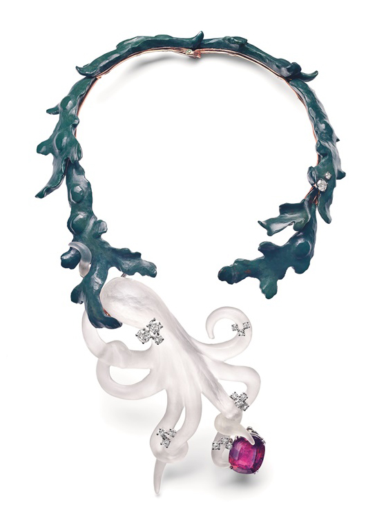 Chaumet, Octopus necklace with diamonds, jasper, and rubellite (1970). Courtesy of Chaumet
