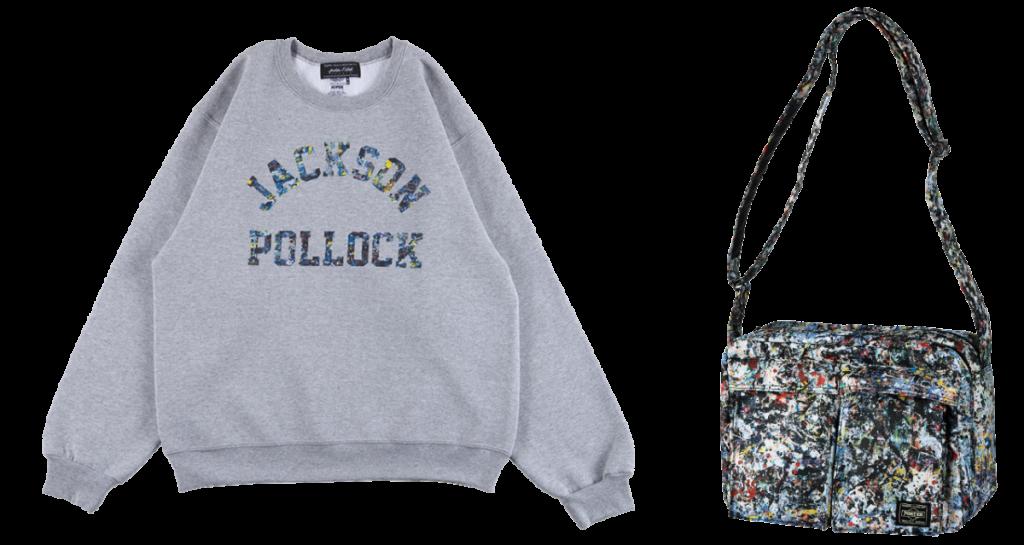 "CREW NECK SWEAT ""JACKSON POLLOCK STUDIO"" ;SHOULDER BAG ""JACKSON POLLOCK 2"" made by PORTER"